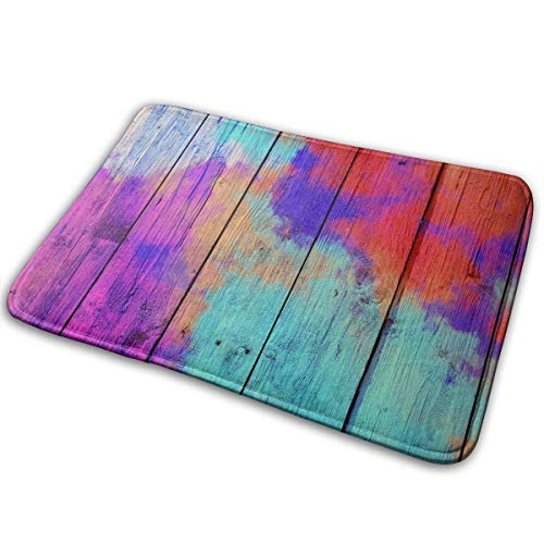 Usicapwear Entrance Doormats Area Mat,Abstract Colorful Pastel with Gradient Multicolor Toned Textured On Wood Background Rectangula Rug Indoor/Outdoor Mats 23.6 X 15.7 Inch(60x40cm)