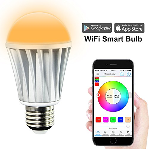 MagicLight WiFi Smart LED Light Bulb - Smartphone Controlled Sunrise Wake Up Lights - Dimmable Multicolored Color Changing LED Night Light - Works with Alexa - 7 Watts (60Watts Equivalent)