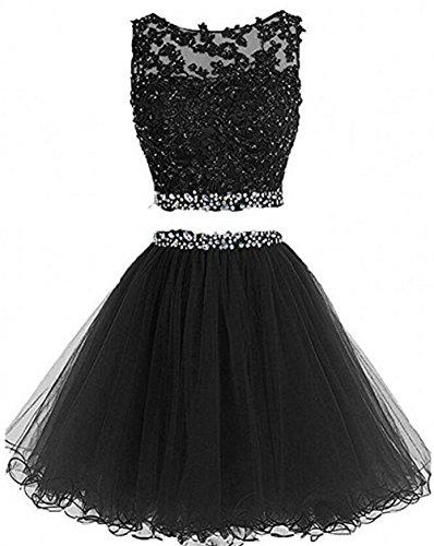 Dress Short Gown (Dydsz Women's Prom Dress Short Homecoming Party Dresses 2 Piece Beaded Cocktail Gown D127 Black 16)