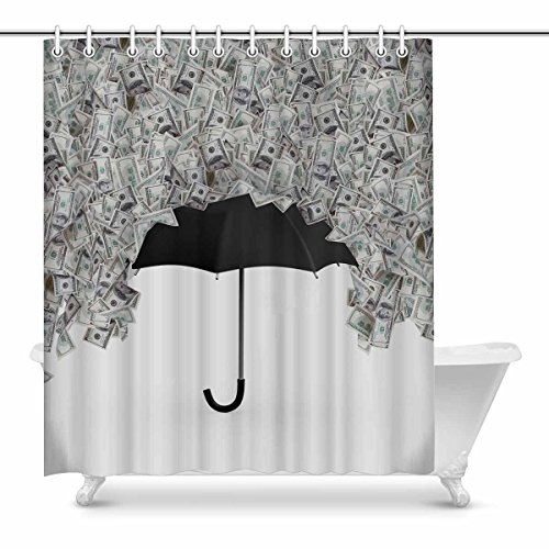 InterestPrint Home Decor Funny One Hundred Dollar Bills Money Banknotes Flying and Raining Waterproof Polyester Fabric Shower Curtain Bathroom Sets with Hooks, 72(Wide) x 84(Height) Inches