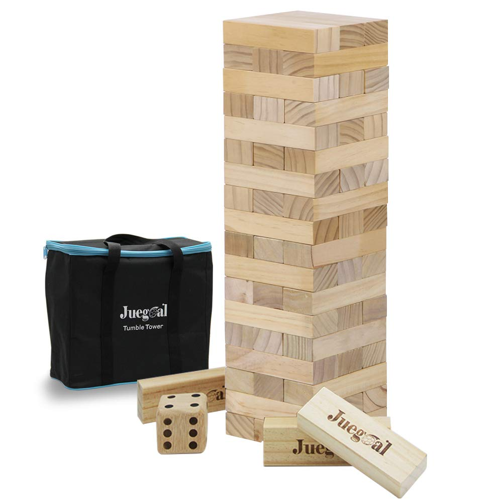 Juegoal 54 Pieces Tumble Tower Blocks Game Giant Toppling Tower Wood Stacking Game with 1 Dice Set Canvas Bag for Adult, Kids, Family