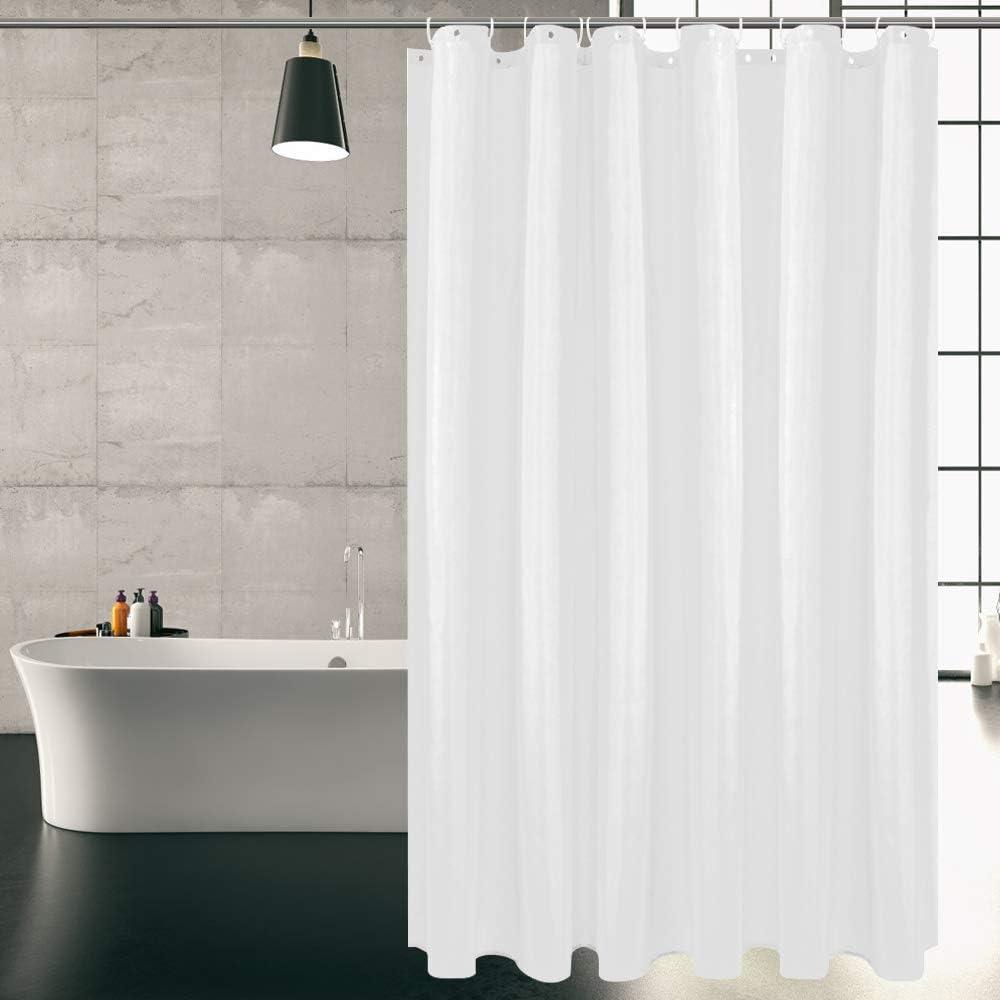 Carttiya Duschvorhänge Textil Bad Vorhang aus Weiß Stoff, 120X180CM