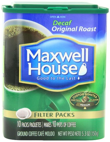 Maxwell House Original Roast Ground Coffee, Decaffeinated, 10-Count Filter Packs (Pack of 4)