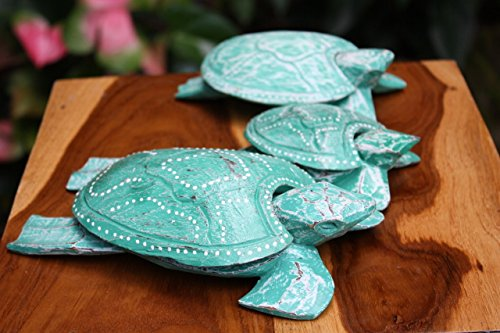 Set of 3 Turtles Ashtray/Keepsake Boxes Turquoise | #wib3708 (Turtles 3 Keepsake Boxes)