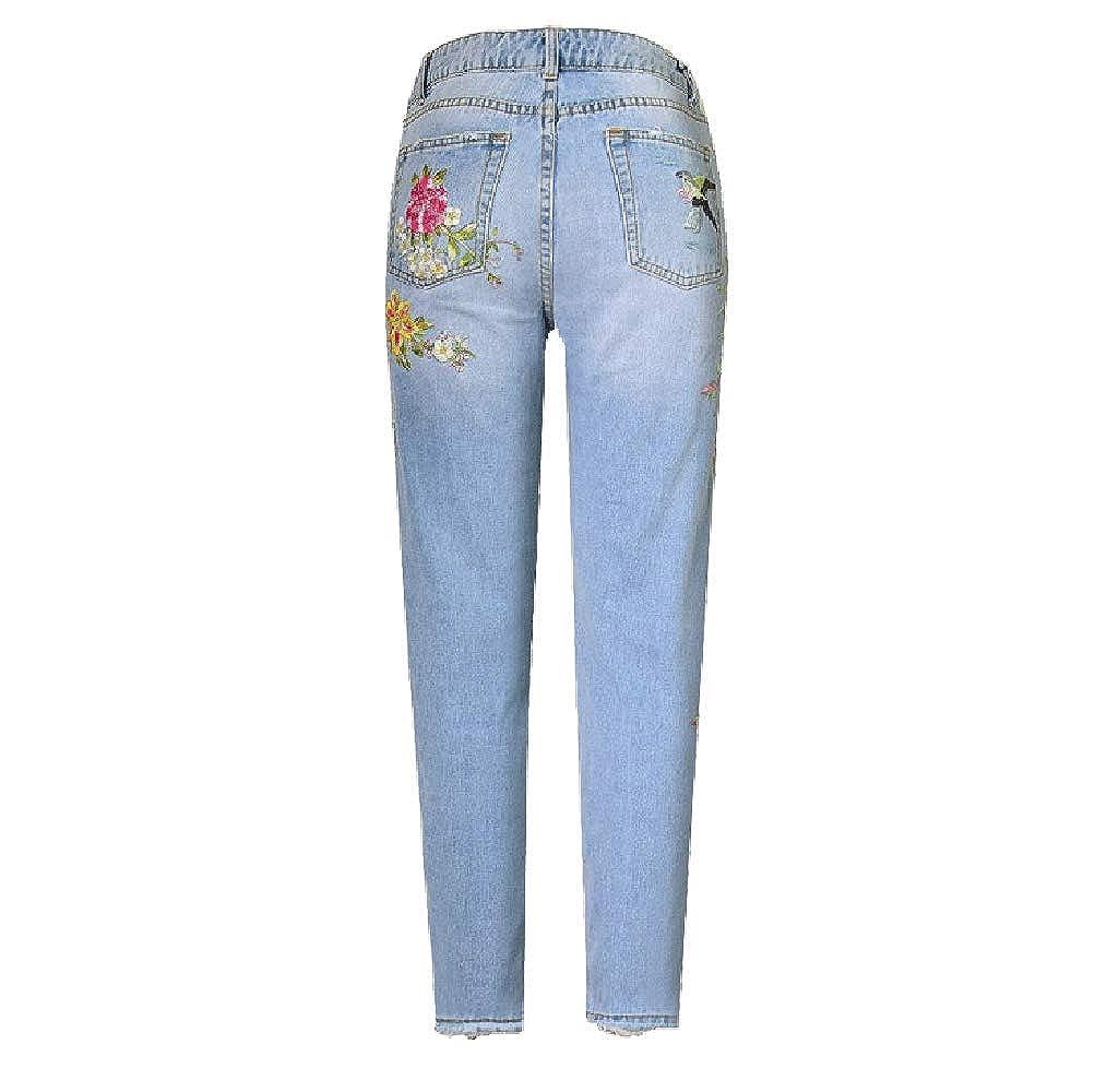 KORSE Womens Embroidery High Rise Straight Fit Raw Hem Denim Jeans