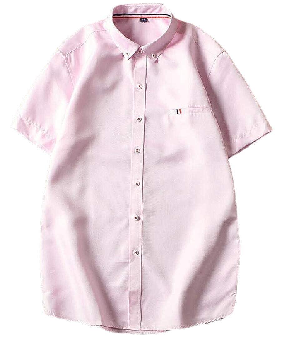 Gocgt Mens Short Sleeve Button Down Tees Summer Loose Tops Blouses Shirts