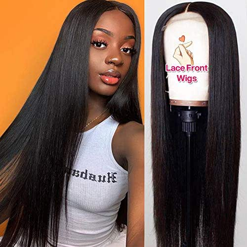 Hermosa 9A Lace Front Human Hair Wigs for Women 150% 13x4 Straight Lace Front Wigs Pre Plucked Hairline with Baby Hair Black Color 20 inch