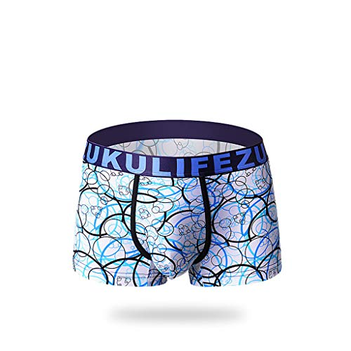 Landscap_Men Underwear Landscap Breathable Ice Silk Mens Fashion Boxer Briefs Non-Slip Thin Pouch Underpants (Blue,XL)