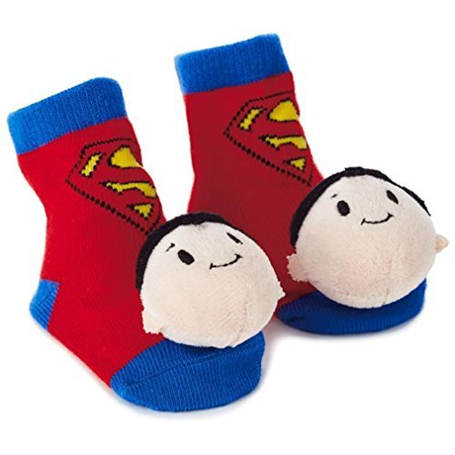 Hallmark Superman itty bittys Baby Rattle Socks Baby Clothes Superheroes ()