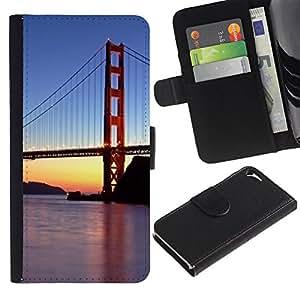 iKiki Tech / Cartera Funda Carcasa - Francisco Golden Gate Bridge Sunset River - Apple iPhone 5 / 5S