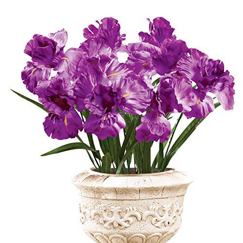 Iris Bushes Flower Arrangement Artificial Bush Picks - Set Of 3, Purple Iris Arrangement