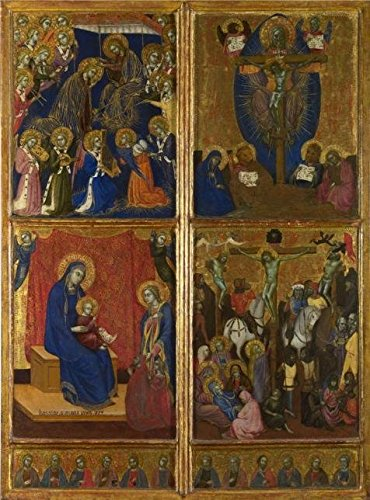 (Perfect Effect Canvas ,the Amazing Art Decorative Prints On Canvas Of Oil Painting 'Barnaba Da Modena-Scenes Of The Virgin; The Trinity; The Crucifixion,1374', 18x24 Inch / 46x62 Cm Is Best For Game Room Gallery Art And Home Gallery Art And Gifts)