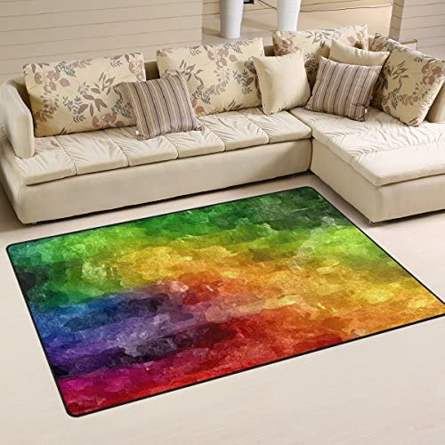 Sunlome Abstract Rainbow Watercolor Pattern Area Rug Rugs Non-Slip Indoor Outdoor Floor Mat Doormats for Home Decor 60 x 39 inches