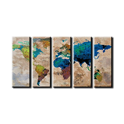 EZON-CH Extra Large Canvas Colorful World Map on Old Wall Background 5 Panel Watercolor Large Wall Art 80 Inch Total by Tanda