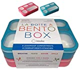 6 Compartment Lunch Boxes. Bento Box Lunchbox Containers for Kids, Boys Girls Adult. BPA-Free Microwave Safe School Bentobox Meal Planning Portion Container. Leak-proof. Set of 2 Blue & Pink Kits.
