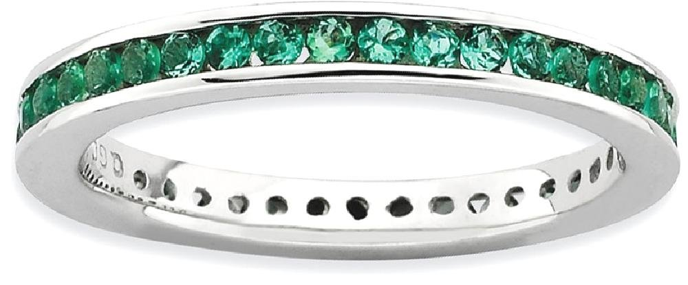 ICE CARATS 925 Sterling Silver Created Green Emerald Band Ring Size 5.00 Stone Stackable Gemstone Birthstone May Fine Jewelry Gift Set For Women Heart
