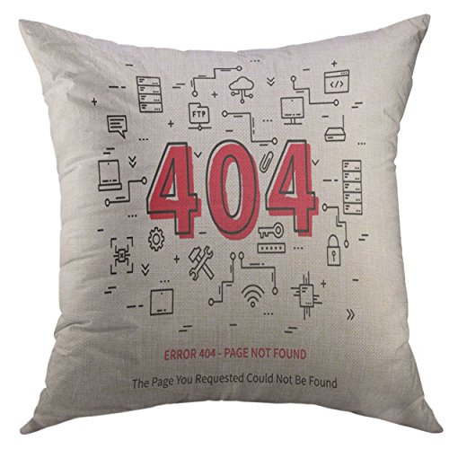 Mugod Pillow Cover Hosting Center Error 404 Page with Datacenter Server Broken Graphic Design Not Found Creative Data Site Home Decorative Throw Pillow Cushion Cover 16x16 Inch Pillowcase