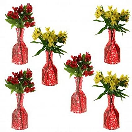 Amazon Set Of 6 Foldable Collapsible Flower Vases Red Plastic