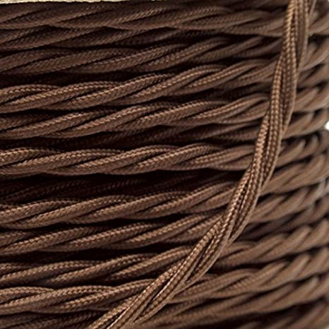 5 Meters 3 Core Brown Cable Vintage Antique Braided Twisted Fabric Lighting Cable Woven Silk Flexible Wire Cord Light Shenzhenshi yifengshunmaoyi youxianzerengongsi