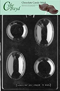 Cybrtrayd M152 Oval Round Soap Bars Chocolate Candy Mold with Exclusive Cybrtrayd Copyrighted Chocolate Molding Instructions