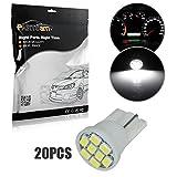 Automotive : Partsam 20pcs 6000K White T10 194 168 LED Light Bulb 8-SMD Instrument Panel Cluster Speedometer Odometer Temp Gauges Lighting Lamp