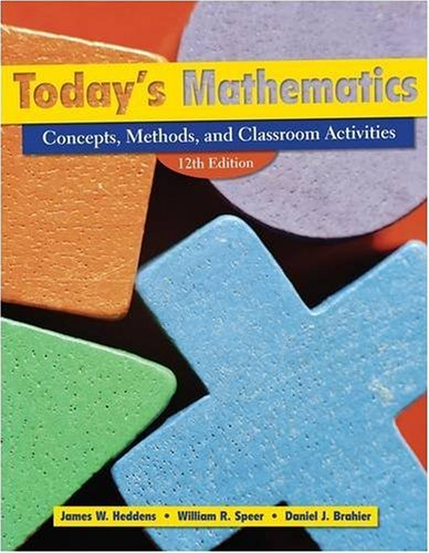 Today's Mathematics: Concepts, Methods, and Classroom Activities, 12th Edition (Book & CD-ROM)