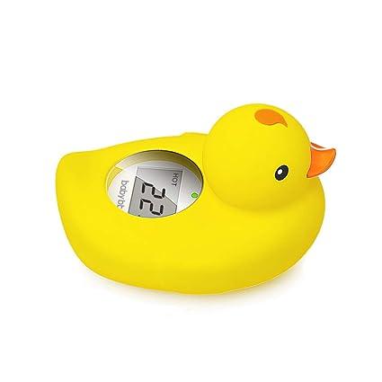 BABY BBZ Termómetro digital para bebés, Termómetro flotante para baño, Patito de juguete para bebés y niños pequeños (Amarillo)