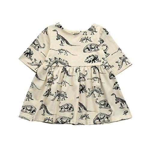 K-youth® Dinosaurio de impresión Vestidos Niña Wedding Party Birthday Dress  Princesa Vestido de a78d5db10a60