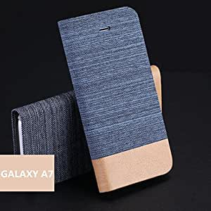 Jeans PU Holder Mobile Phone Case for Samsung Galaxy A7(Assorted Colors) , Black
