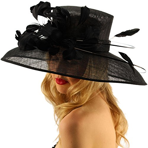 SK Hat shop For a Queen Dome Sinamy Floral Spray Feathers Derby Floppy Dress Wide Hat Black by SK Hat shop