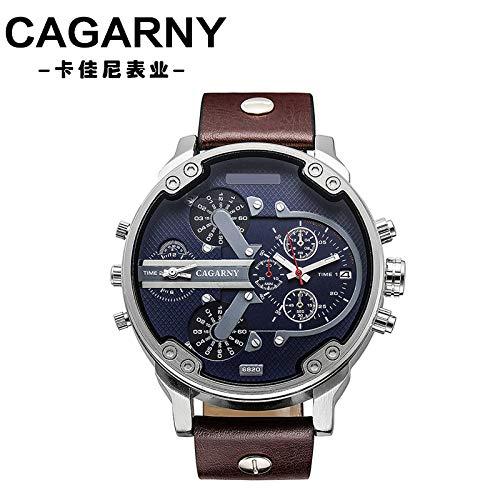 SJXIN Reloj Elegante Dial Grande Reloj de Cuarzo Hombres Moda Hombre Doble Zona horaria Reloj de