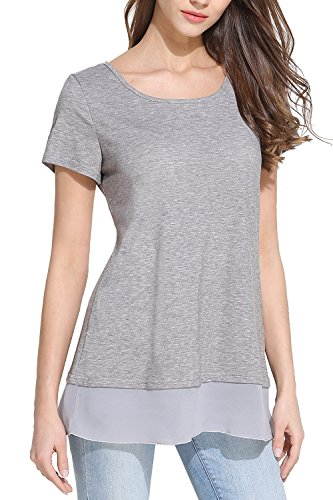 Ortilerri Women's Casual Short Sleeve Round Neck Basic Loose T Shirts (Gray, XXL)