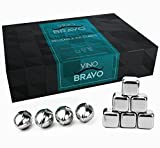 Premium Stainless Steel Whiskey Stones Gift Set of 10 - Reusable Whiskey Ice Cubes - Whiskey Rocks Set - Whiskey Chilling Stones With Tongs And Freezer Pouch by VinoBravo