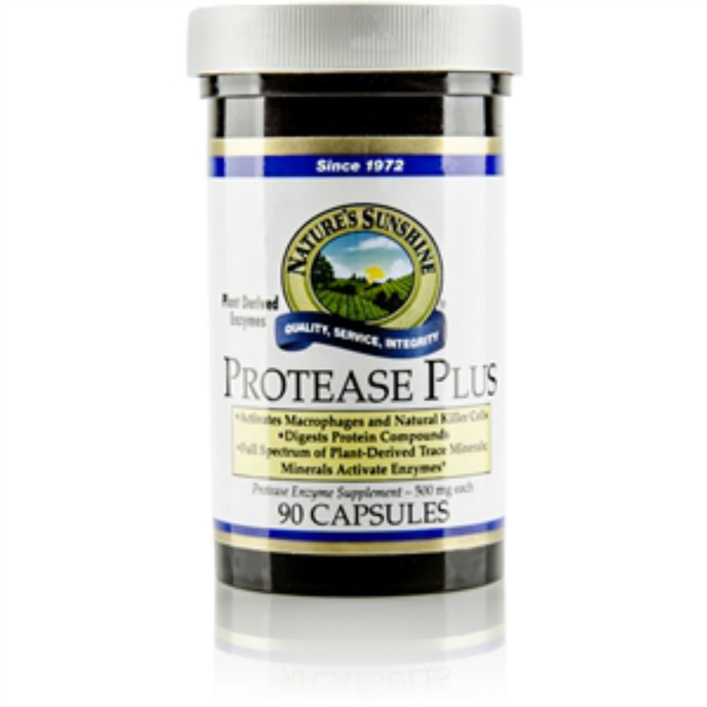 Nature's Sunshine Protease Plus Support Digestive System ,Protease Enzyme Supplement 90 Capsules Each(Pack of 4)