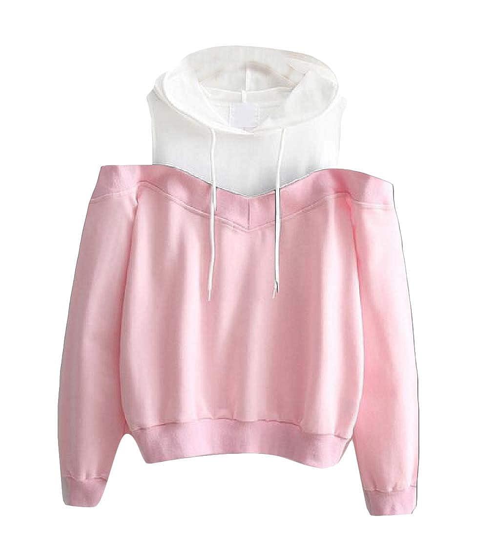 Cromoncent Womens Contrast Pullover Hooded Slim Cold Shoulder Sweatshirts
