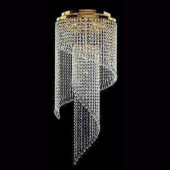 Art Deco 7 luz de techo con cristales en 24 quilates chapado ...