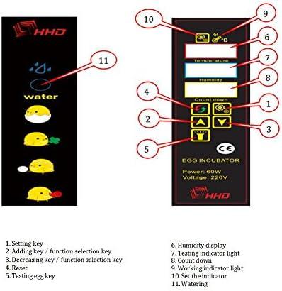 Braylon Incubadora De Pollitos 24 Huevos Automáticos Incubadora Digital Control Automático De Temperatura para Pollo ...