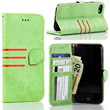 Leather Wallet Case - iPhone 7 & 8: Protective Card Holder with Stand (4.7 Inch Screen) Green