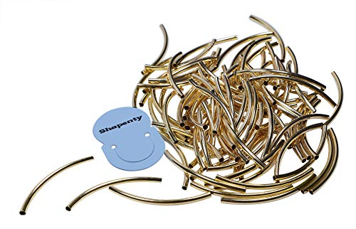 (Shapenty Gold Plated Metal Twist Long Curved Noodle Tube Spacer Beads Smooth Loose Beads for DIY Craft Pendant Bracelet Earring Charm Jewelry Making, 100PCS (Gold, 3 x 50mm))