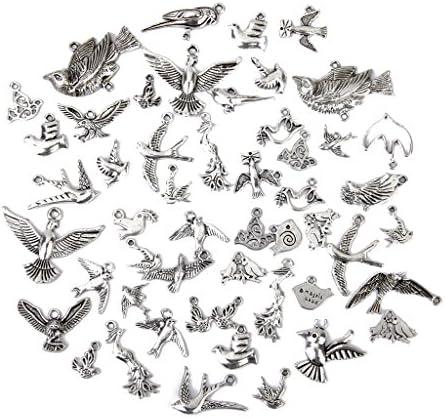 手仕事 鳥形  盛り合わせ ペンダント DIY 素材  材料  飾り ネックレス チャーム 贈り物 50個