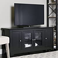 Walker Edison 53 Wood TV Stand Console with Storage, Black