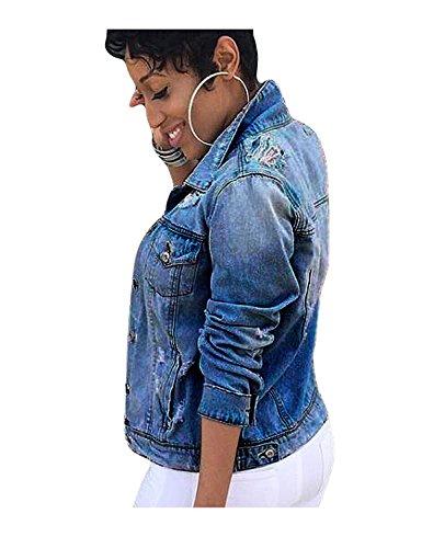 Femme Veste Bouton Manches Automne Jeans Retro Minetom Longues Lav Denim Blousons OZddTWg