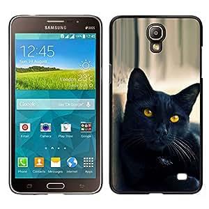 EJOY---Cubierta de la caja de protección para la piel dura ** Samsung Galaxy Mega 2 ** --Gato Negro Amarillo Ojos Nebelung