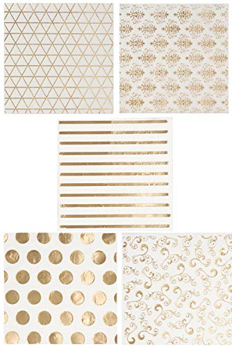 Gold Cocktail Napkins, 100 Pack 3-Ply Disposable Paper Napkins Party Supplies Folded 5 x 5 Inches in 5 Assorted Designs Perfect for Wedding, Birthdays, Baby Shower