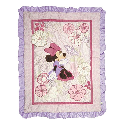Disney Minnie Mouse Butterfly Dreams Crib Quilted Appliqued Comforter by Disney