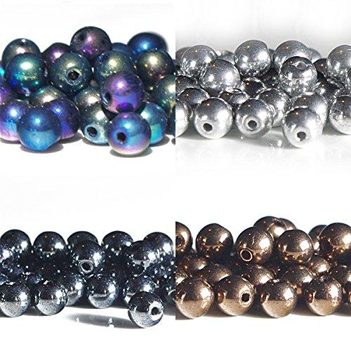 480 pcs 4mm Mix of Czech Glass Beads Silver, Hematite, (Iris Glass Beads)