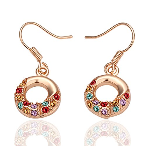 Waterford Collins Glass (Fashion Bling Colorful Zircon Doughnut Dangle Earring Rose-Gold-Plated Drop Earrings for Women)