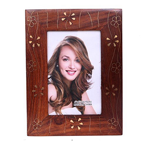 WILLART Handicraft Table Top Wooden Photo Frame Copper Finish Home Décor Office Home Furnishing (Frame Dimension : 8.5 Inch X 6.5 Inch and Photo Dimension : 6 inch X 4 inch) ()