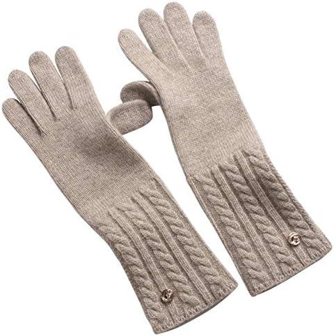 BTXXYJP 冬のニットの暖かい長いセクションのタッチスクリーンタッチレディースのフルフィンガーグローブコンフォートアウトドア手袋 (Color : Light camel, Size : One Size)