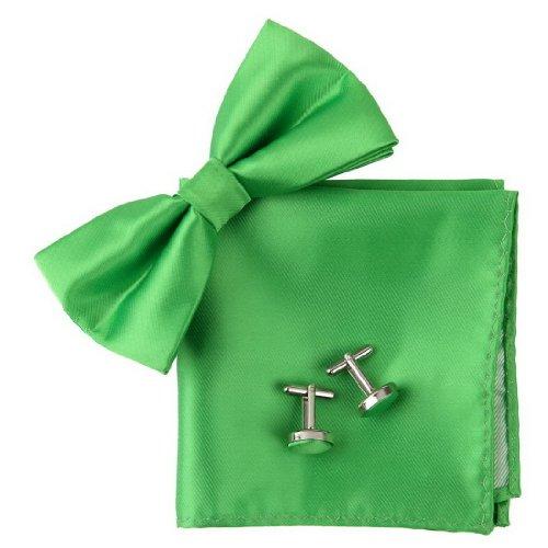 Epoint BT2020 Green Plain Bowtie Formal Wear Silk Pre-tied Bowtie Cufflink Hanky Lime Gifts ()